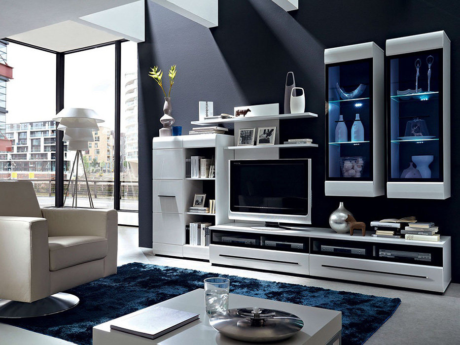 Fever 2 brw Black gloss living room furniture uk